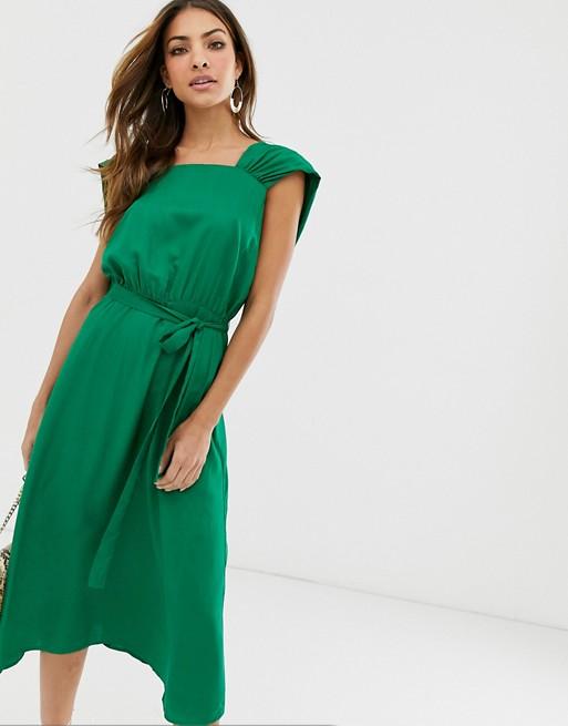 Платье миди с квадратным вырезом Y.A.S