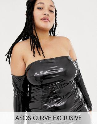 Платье миди с открытыми плечами ASOS DESIGN x LaQuan Smith Curve