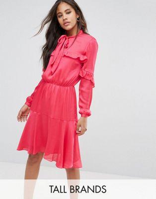 Платье миди с завязкой и оборками Y.A.S Tall Y.A.S Tall
