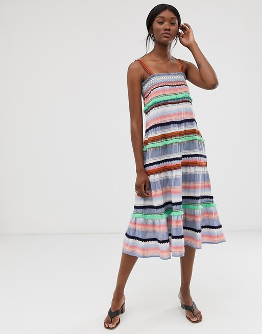 Платье миди в полоску с вышивкой Only