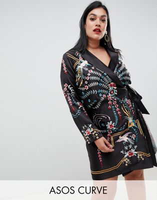 Платье мини с длинными рукавами, запахом и вышивкой ASOS DESIGN Curve