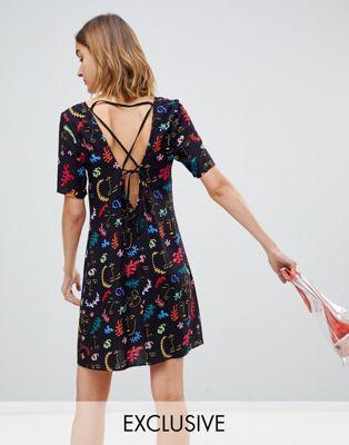 Платье мини с квадратным вырезом и принтом Reclaimed Vintage inspired