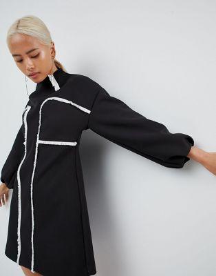 Изображение 1 из Платье мини с необработанными кромками ASOS WHITE