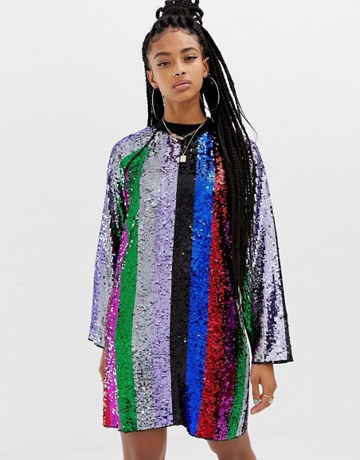 Платье мини с разноцветными пайетками COLLUSION