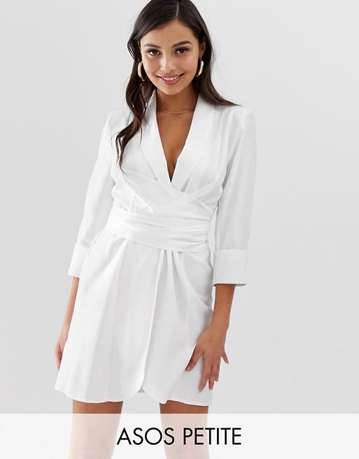 Изображение 1 из Платье мини в стиле смокинга с поясом на талии ASOS DESIGN Petite