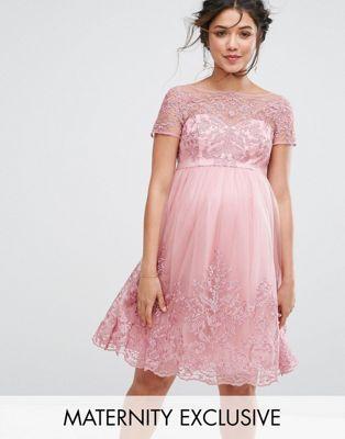 Платье-премиум для выпускного с вышивкой и юбкой из тюля Chi Chi London Maternity Chi Chi London Maternity