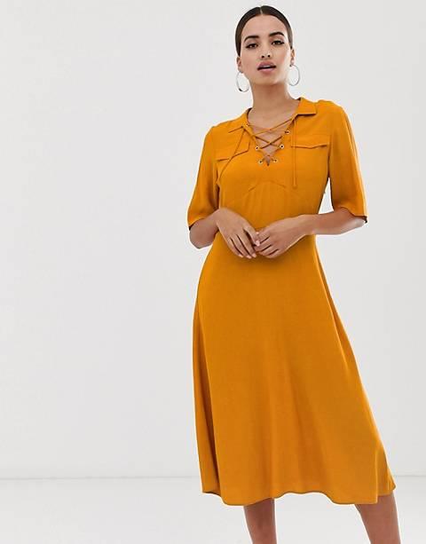 Платье-рубашка миди на шнуровке спереди ASOS DESIGN