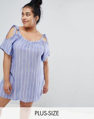 Платье-туника в полоску с открытыми плечами Zizzi