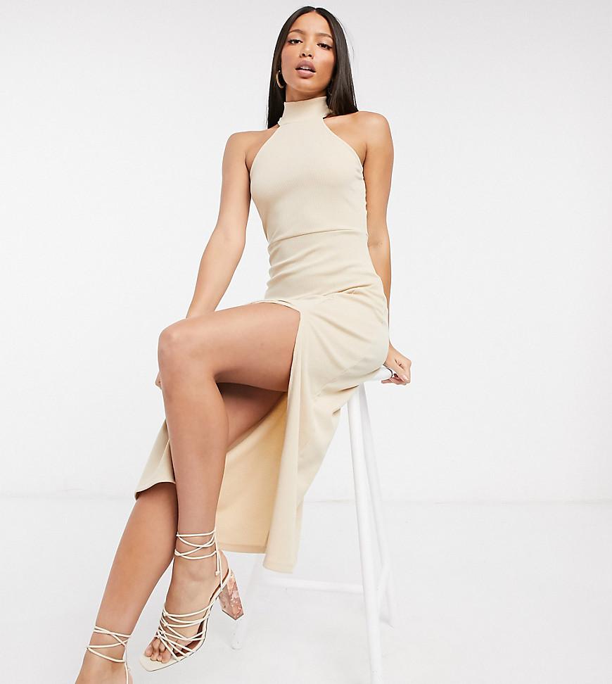 Платье-водолазка миди без рукавов с разрезом Fashion Union Tall-Бежевый