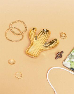 Plato para joyería dorado con diseño de cactus de Sass & Belle
