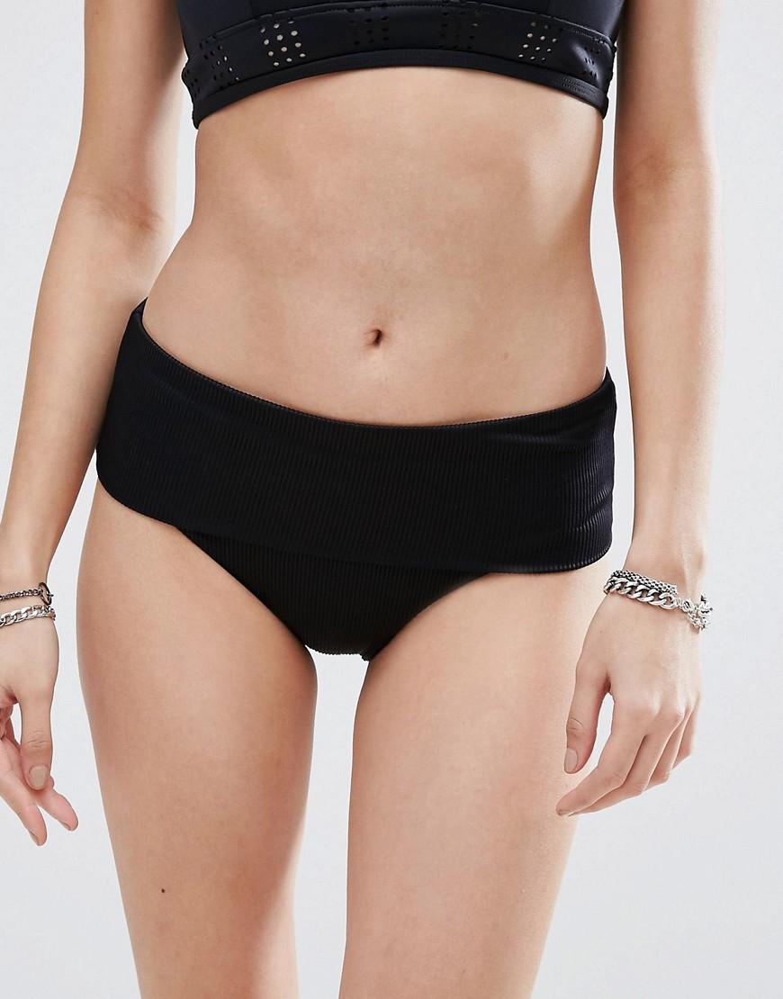 Плавки бикини в рубчик с отворотом RVCA-Черный