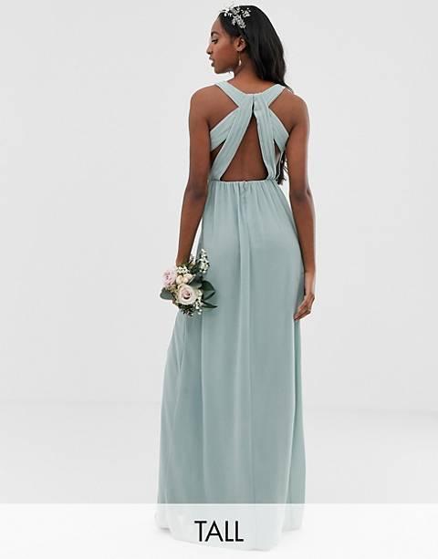 Плиссированное платье макси с отделкой на спине эксклюзивно для TFNC Tall