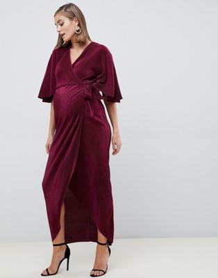 Плиссированное платье макси с запахом ASOS DESIGN Maternity