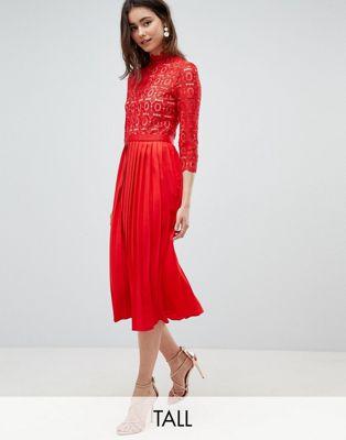 Плиссированное платье миди с кружевным верхом и рукавами 3/4 Little Mistress Tall