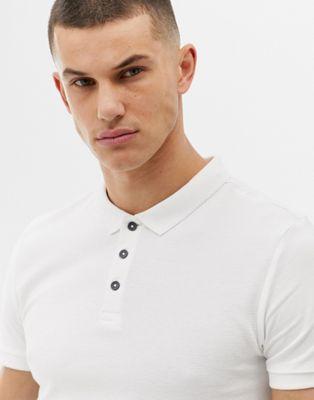 Ribeteado En Blanco Ajustado New Look Polo De N0kXnOP8w