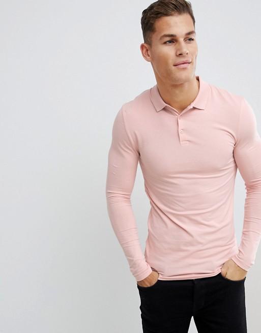 Imagen 1 de Polo ajustado y elástico de manga larga de punto en rosa de ASOS DESIGN
