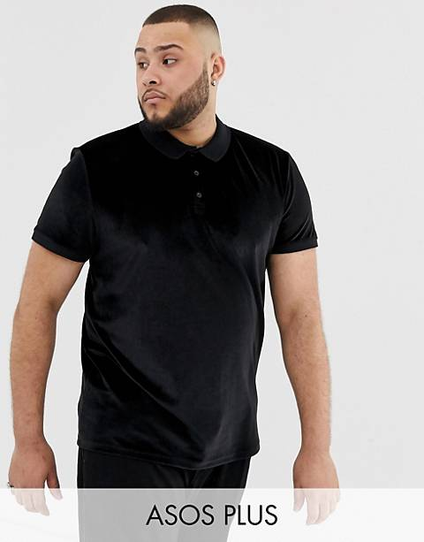 Polo de velour negro de ASOS DESIGN Plus