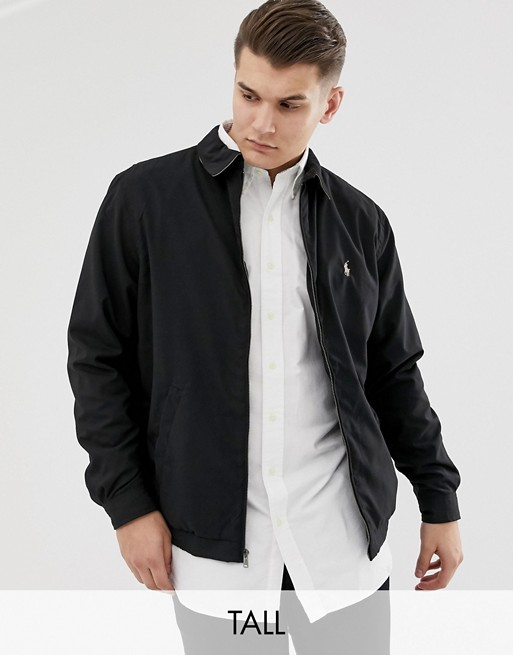 Image 1 of Polo Ralph Lauren Big & Tall bi-swing harrington jacket player logo in black