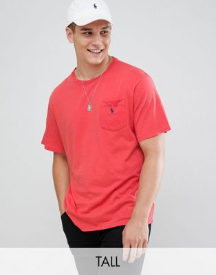 Polo Ralph Lauren Big & Tall Pocket T-Shirt with Logo in Red