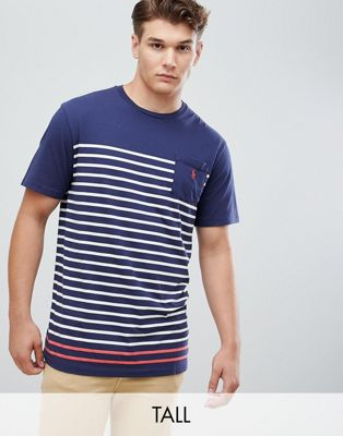 Polo Ralph Lauren Big & Tall Stripe T-Shirt Pocket Polo Player in Navy/White
