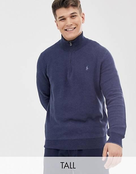 Polo Ralph Lauren – Big & Tall – Strukturierter Strickpullover aus Pima-Baumwolle in Marineblau meliert mit kurzem Reißverschluss und Polospielerlogo