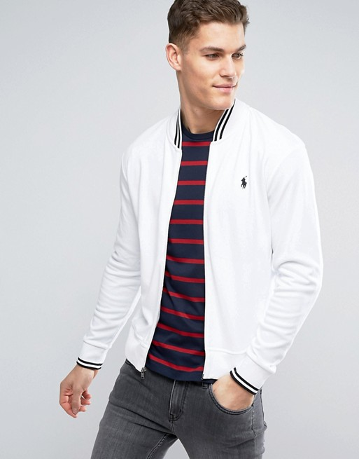 White In Polo Ralph With Lauren Edging Tipped Bomber Jacket yfgb76
