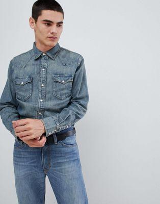 Polo Ralph Lauren - Camicia western slim di jeans lavaggio medio