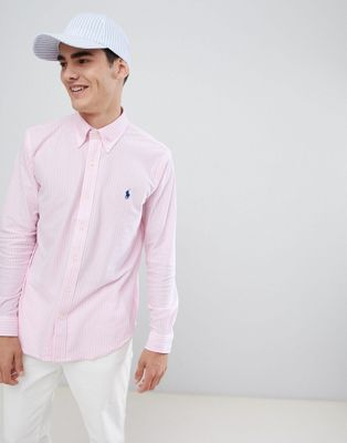 Polo Ralph Lauren - Chemise ajustée  boutonnée en piqué à rayures avec logo joueur de polo - Rose/blanc