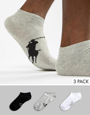 Polo Ralph Lauren - Confezione da 3 paia di calzini sportivi con logo con giocatore di polo grande bianchi/grigi/neri