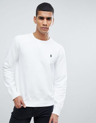 Polo Ralph Lauren Crew Neck Sweatshirt with Polo Player Logo in White