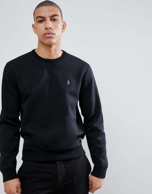 Polo Ralph Lauren - Felpa girocollo nera con logo a giocatore