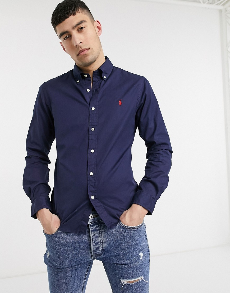 Shirt by Polo Ralph Lauren For your everyday thing Button-down collar Button placket Polo Ralph Lauren logo Slim fit A close-fitting cut Open with care - product may be pinned
