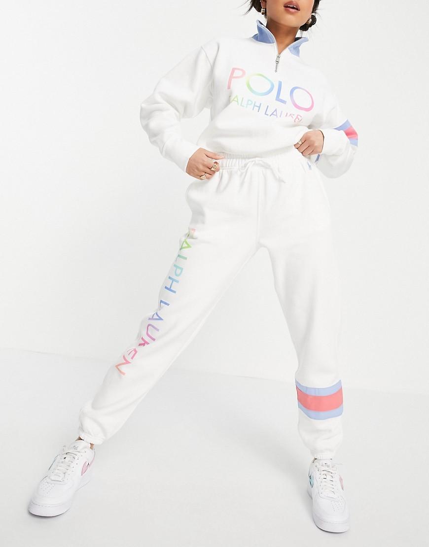 Polo Ralph Lauren - Hvide joggingbukser med sidelogo og tætsiddende kanter - Del af sæt
