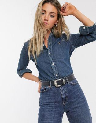 Polo Ralph Lauren – Klassisches Jeanshemd mit Logo in Blau