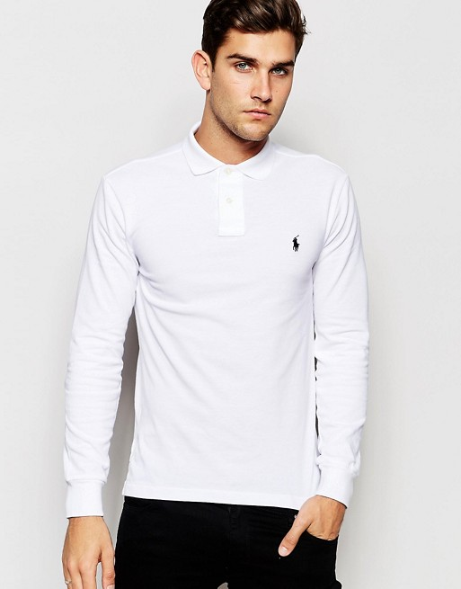9d6516cbe72d Polo Ralph Lauren Long Sleeve Polo Shirt in Slim Fit In White