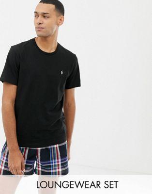 Polo Ralph Lauren - Lounge geschenkset van t-shirt met logo en geruite short in black/winter
