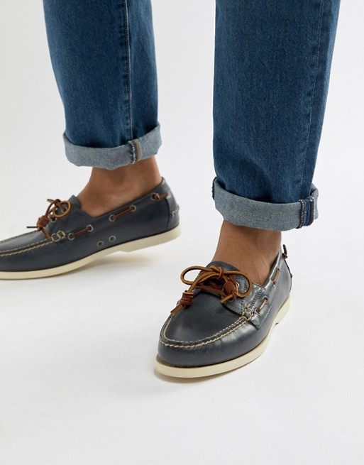 Weathered Polo Ralph Blue Merton Leather Boat Shoes In Lauren xthdBoQsrC