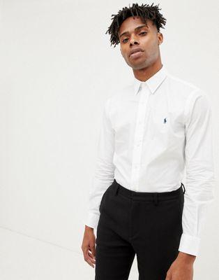 Polo Ralph Lauren - Phillip - Camicia slim in popeline bianca con colletto e logo a giocatore