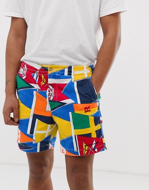 Print Shorts Chino In Polo Multi Prepster Ralph Flag Lauren Drawstring 2IH9WEDY