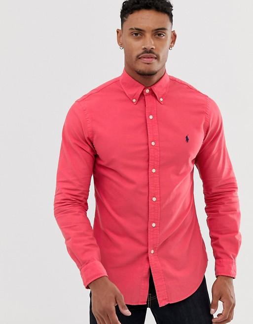 Bild 1 av Polo Ralph Lauren – Röd oxfordskjorta i slim fit med knappar och logga