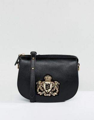 Polo Ralph Lauren Saddle Bag In Leather With Crest