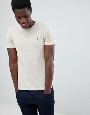 Polo Ralph Lauren – Schmal geschnittenes T-Shirt mit Polospieler-Logo in Beige meliert