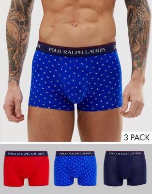 Afbeelding 1 van Polo Ralph Lauren - Set van 3 boxershorts met marineblauwe tailleband met logo in marineblauw/rood/blauwe ankers