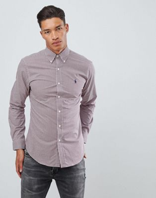 Polo Ralph Lauren slim fit gingham poplin shirt player logo button down in burgundy/white