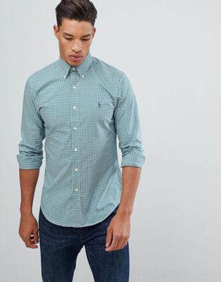 Polo Ralph Lauren slim fit gingham poplin shirt player logo button down in green/white