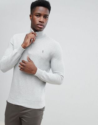 Image 1 of Polo Ralph Lauren Texture Pima Cotton Knit Jumper Half Zip Polo Player in Grey Marl