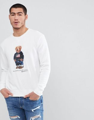Polo Ralph Lauren Vintage Casual Bear Print Crewneck Sweatshirt in White