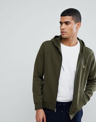 Polo Ralph Lauren Zip Through Hoodie with Polo Player Logo in Olive