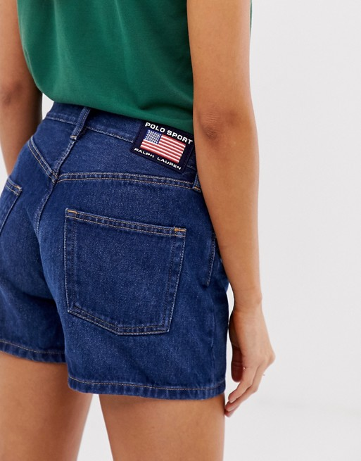 Polo Sports flag logo denim short