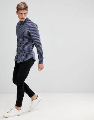 Полосатая строгая рубашка узкого кроя (темно-синий/серый) Moss London